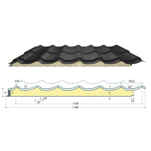 dakpanpaneel grandem mat zwart